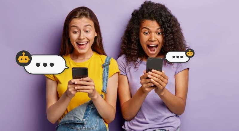 Duas meninas animadas ao conversar com chatbots